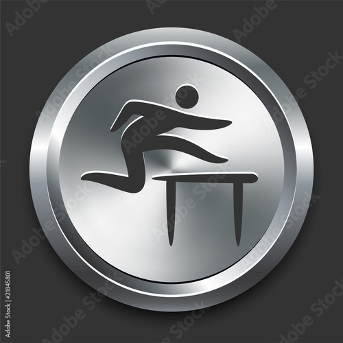 Jumper Hurdles Icon on Metal Internet Button