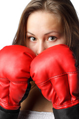 Girl in fighting gloves