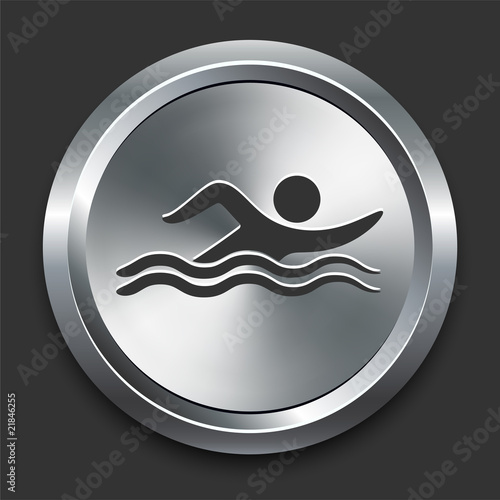 Swimmer Icon on Metal Internet Button