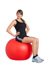 red gym ball