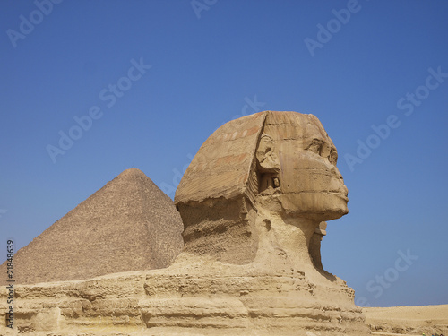Poster Egypte sphinx from giza and Pyramid