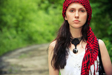 Girl in a red kerchief