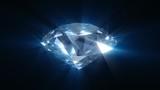 Spinning blue shining diamond - looped 3d animation