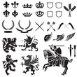Heraldry Ornament Set Black and White - 21851639