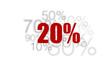20% - pourcent rouge sur fond blanc et chiffres gris
