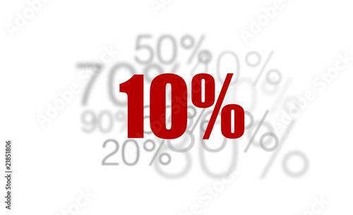 10% - dix pour-cent rouge sur fond blanc et chiffres gris