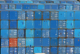 Blue sea containers in an international port