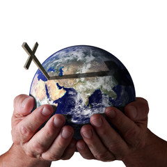 For God so loved the world... God holding world with cross