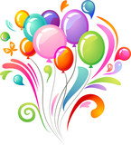 Colourful splash with balloons