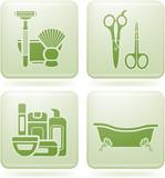 Olivine Square 2D Icons Set: Bath poster
