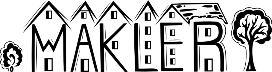 Immobilien, Makler, Haus, Häuser Silhouette, Logo