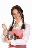 beautiful housewife preparing with egg beater poster