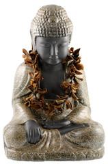 Bouddha orné collier fleurs sèches frangipanier, fond blanc