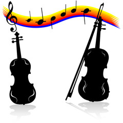 violin vector silhouettes