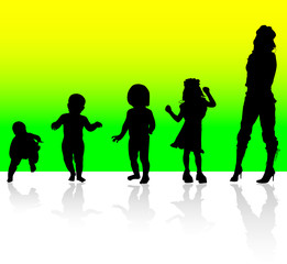 from babies to women vector silhouettes