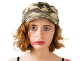 Young woman with smudged makeup an plaster on cheek poster