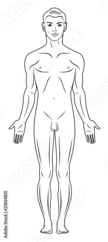 Full lenght front view of a standing naked man