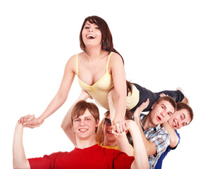 Group of people. Men hold  girl on hands.