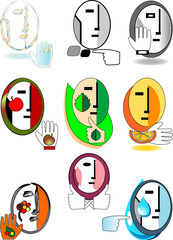 set of original symbolic faces