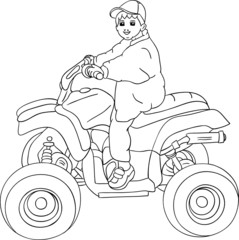 vector - a little boy sitting on quad bike