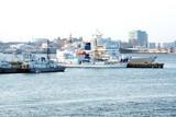 Military ships.Coast Guard.Yokohama, Japan  sunset
