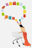 The woman plans purchases. Insert your text. poster