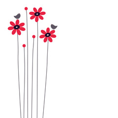 vector flower and bird background