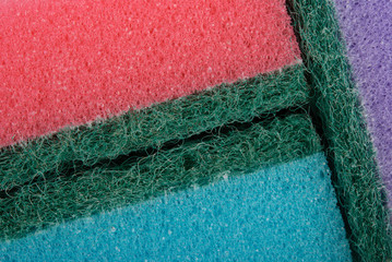 Some colour sponges for washing by close up