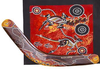 Aboriginal style design with boomerang