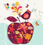Fototapety cute apple and bird
