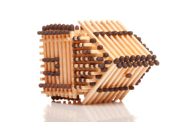 Overturn house from matches