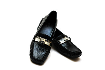 black leather women shoes
