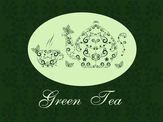 vintage green tea design
