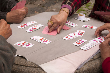 Joueurs de cartes de Mahjong à shanghai - China