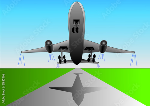 Vector illustration of airplane or airbus plane that take off