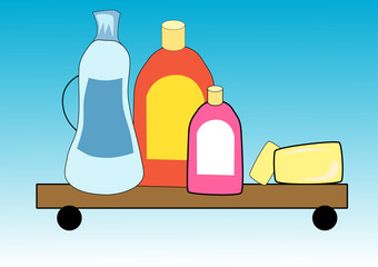 Illustration of hygiene cleaners products for housework