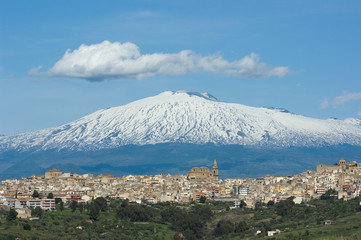 View Of Sicilian Village and Volcano Etna