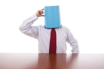 Bucket head businessman