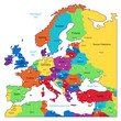 Multicolored map of Europe