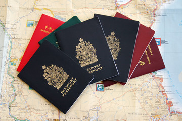 Travel with lots of passport  and a map.
