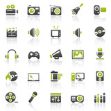 Fototapety green entertainment icons - set 11