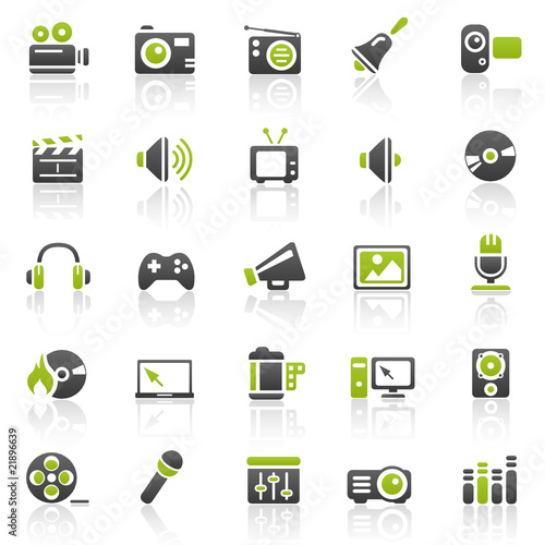 green entertainment icons - set 11