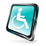 Blue 3d disabled icon poster