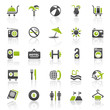 green holiday hotel icons - set 10