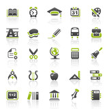 Fototapety green education icons - set 5