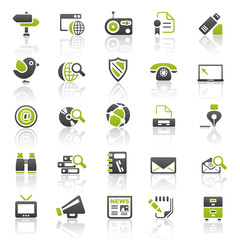 green communication icons - set 7