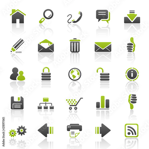 green web internet icons - set 1