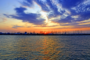 Italy sunset at Ravenna harbor