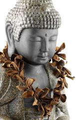bouddha fleuri, fond blanc