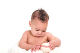 Sweet Infant Boy Gazing at a Baseball poster